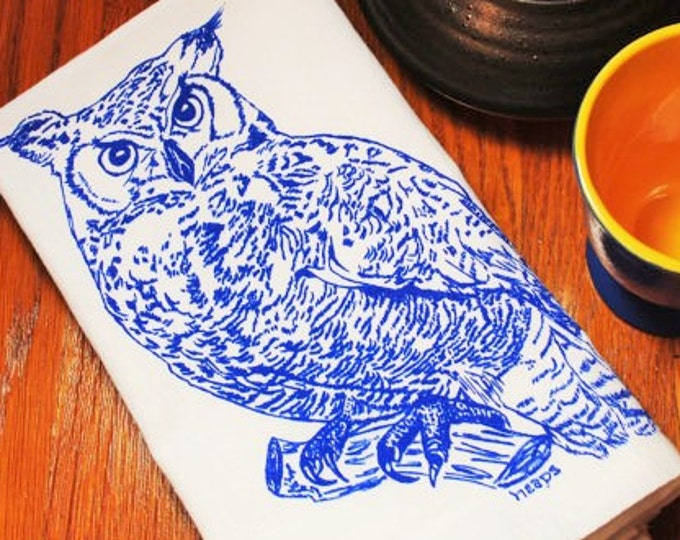 Eco Friendly Cloth Napkins - Screen Printed Blue Owl Design - Woodland Animal Theme - Perfect Wedding Shower Gift