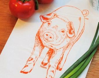 Tea Towel - Cotton Flour Sack Material - Orange Pig Design - Cute Kitchen Towel for Housewarming or Wedding Gift - Animal Theme