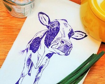 Purple Cow Cotton Kitchen Towels - Absorbent Eco Friendly - Hand Printed Animal Tea Towel - Farm Animals Towel