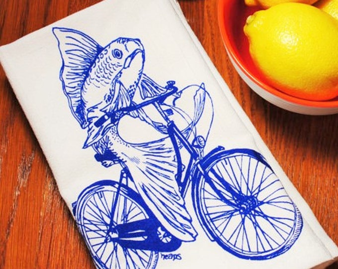 Dinner Napkins - Screen Printed Cotton Blue Fish Vintage Bicycle - Cotton Table Napkin - Washable and Reusable - Eco Friendly