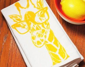 Cotton Napkins - Screen Printed Cotton Eco Friendly Cloth Napkins - Yellow Giraffe - Wedding Gift