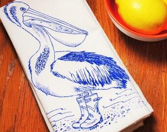 Cotton Napkins - Screen Printed Cotton - Eco Friendly Cloth Napkins - Blue Pelican - Cloth Table Napkins - Wedding Gift