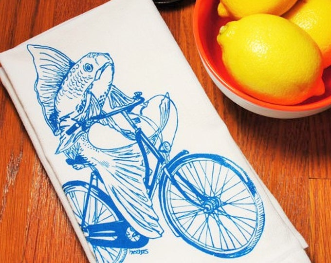 Cloth Napkins Set of 4 - Screen Printed Teal Fish on Vintage Bicycle - Table Napkins - Washable Reusable Napkins - Wedding Gift Idea