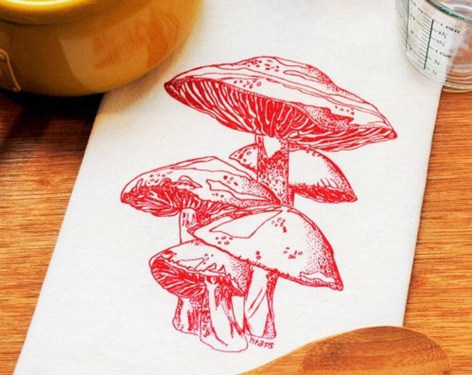 Mushroom Tea Towel - Screen Printed Flour Sack Tea Towel - Wedding Gift - Kitchen Accessories - Red Towel  Hand Towel Kitchen Towel