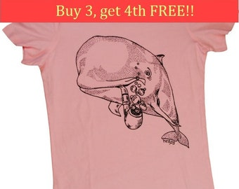 Womens TShirts - Whale with a Pipe - Trendy Womens Clothing - Pink Tshirts - Pink Womens Tops - Ladies T Shirts - Whale T Shirt