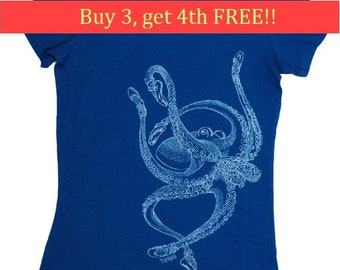 Womens T Shirt - Octopus T Shirt - Bella Canvas Shirt - Graphical Tee Screen Print - Short Sleeve Octopus Tees - Ladies Tee Shirts  S M L XL