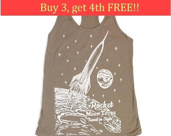 Tank Top for Women - Sci Fi Tank Top - Moon Tank Tops - Outer Space Tank Tops - Travel Tank Tops - Graphic Tanks - Space Rockets - Grey Tank