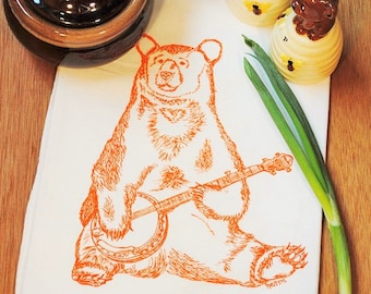 Banjo Bear Tea Towel - Printed Flour Sack Tea Towel - Animal Print - Kitchen Hand Towel - Funny Dish Towels Cup Towel - Musicians Gift
