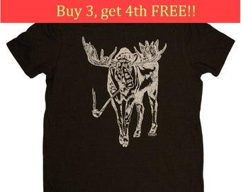 Mens T Shirt - Boyfriend Christmas Gift - Mens Gift - Funny Tshirt - Mens Funny TShirts - T shirts for Men - Pipe Smoking Moose T Shirt