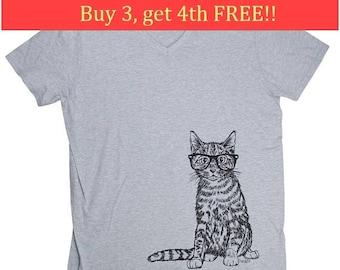 Mens Funny TShirt - V Neck TShirt - Cat TShirt - Funny TShirts - Mens Hipster T Shirt -  Mens Gift - Boyfriend Gift Idea - Grey Tshirt