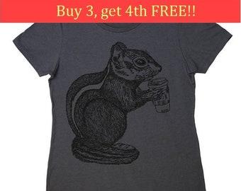 Ladies T Shirt - Regular Fit Tee - Funny Womens T Shirts - Chipmunk TShirt - Coffee Tshirt - Coffee Drinker Gifts - Charcoal Tee Shirts