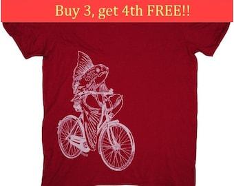Mens Funny TShirt -  Mens Gift - Nautical Tee Shirts - Boyfriend Tshirt - T Shirts for Men - Fish Tee Shirts - Fish on a Bike T Shirt