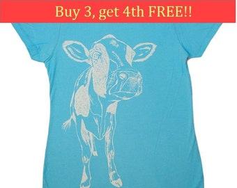 Ladies TShirt - Regular Fit Tee - Cow T Shirts - Fashion T Shirts - Cool Womens Tops - Trendy Printed Tshirts - Tee Shirts - Light Blue