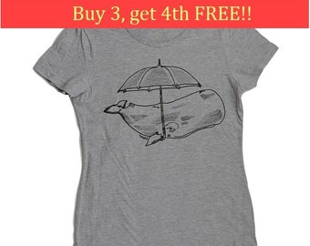 Womens T Shirt - Regular Fit Tee - Funny Womens T Shirts - Fashion T Shirts - Cool Womens Tops - Grey Tee Shirts - Whale with an Umbrella