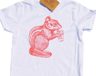Girls T Shirts - Pink Chipmunk - Animal T Shirt - Kids Clothes - Chipmunk Print Clothes - Pink T Shirt - Girls Birthday Gift