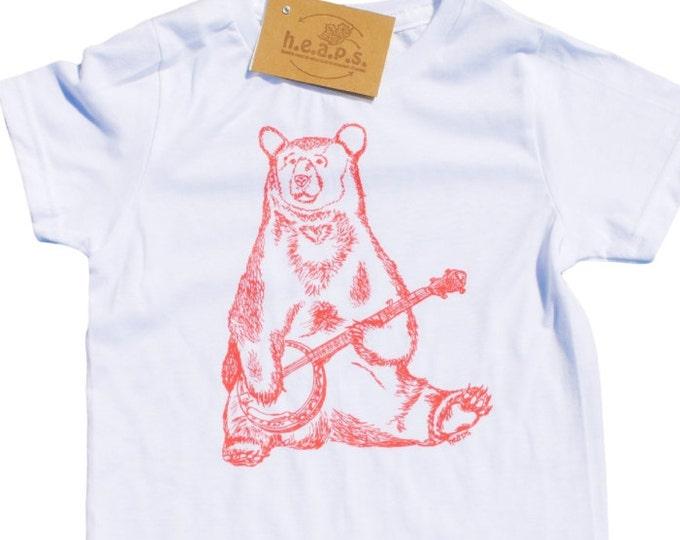 Pink Bear Girls T Shirts - Hipster Girls Clothes - Pink Banjo Bear - Bear Tees - Toddler T Shirt - Pink Shirts - Girl Toddler Tees