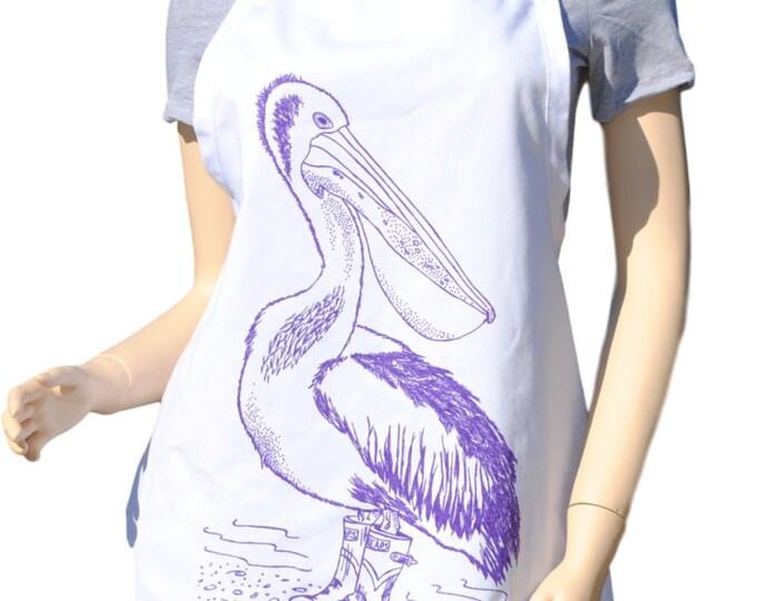 Kitchen Apron - Pelican Apron - Nautical Apron - BBQ Apron -  Bird Apron - Kitchen Gift Ideas - Gifts for Mom - Birthday Gift Idea