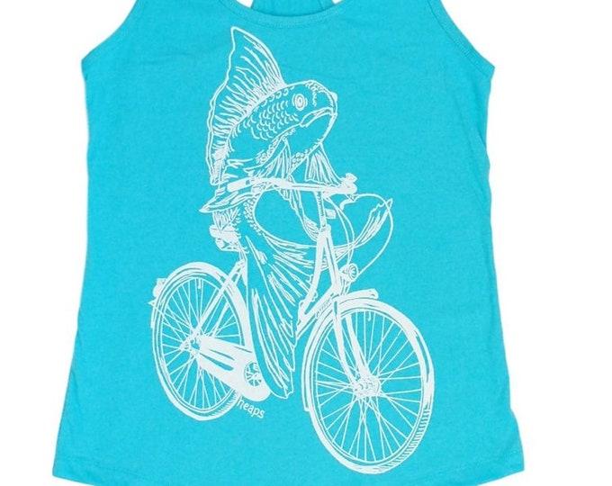 Funny Womens Tank Tops - Feminist Shirt - Best Friend Gift - Fish on a Bike -  Racerback Tank Top - Flowy Tank Tops - Cute Summer Tanks
