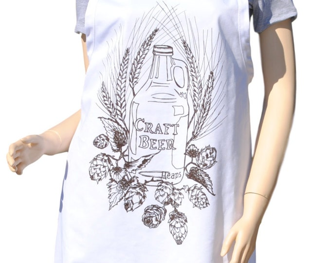 Kitchen Apron - Brown Craft Beer Apron - Barbeque Apron - Cooking Apron - Full Aprons - Gifts for Dad - Beer Gifts - Gifts for Boyfriend