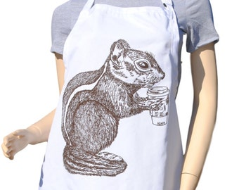 Kitchen Apron - Brown Chipmunk Apron - Crafting Apron - Baking Apron - Animal Apron - Gifts for Sister - Gifts for Mom - Birthday Gift