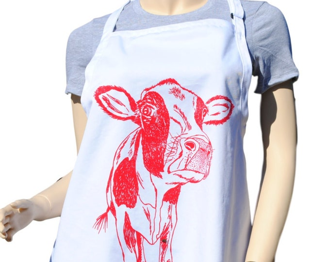 Kitchen Apron - BBQ Apron - Chef Apron - Large Apron - Gifts for Mom - Bridal Shower Gift - Teacher Gift Ideas - Red Cow Apron