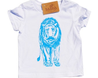 Toddler Boy Clothes - Boys T Shirts - Toddler T Shirts - Toddler Clothes - Blue Kids Tees - Lion with a Mustache - Boys Birthday Gift