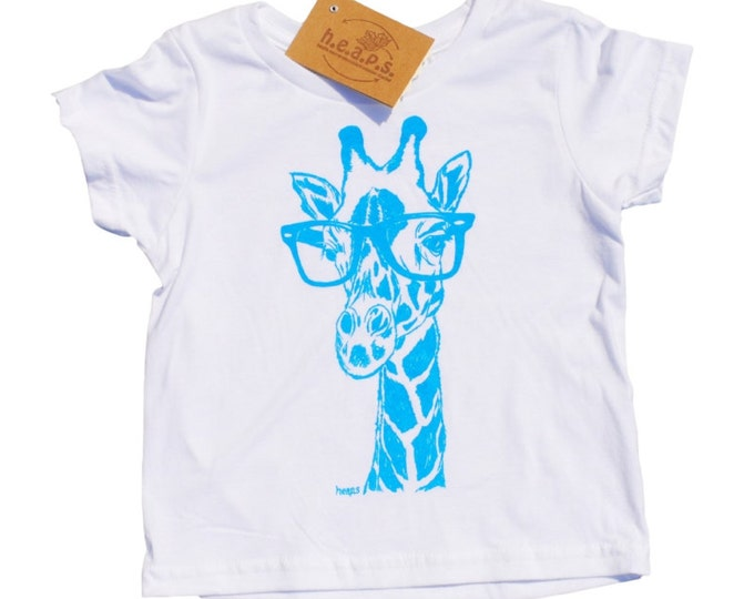 Boys T Shirts - Blue Giraffe with Glasses - Animal T Shirt - Toddler Clothes - Giraffe Tees - Blue Toddler T Shirt - Boys Birthday Gift
