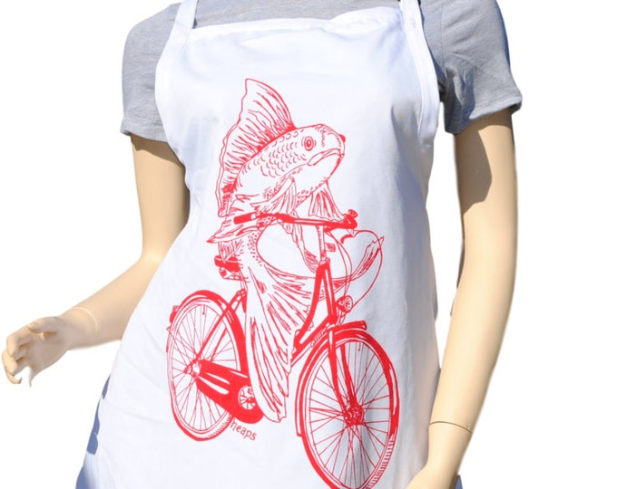 Kitchen Apron - Retro Apron - Baking Apron - Long Apron - Red Fish on a Bike - Kitchen Gifts - Gifts for Mom - Cooking Gift Ideas