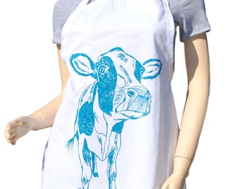 Kitchen Apron - Cow Apron - Animal Apron - Large Apron - Apron for Women or Men -  Kitchen Gifts Ideas - Gifts for Mom - Birthday Gift Idea
