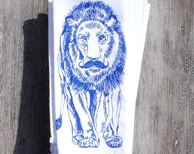 Blue Lion Table Napkins - Whimsical Print of a Lion with a Mustache - Hand Screen Printed on White Cotton Napkins - Washable Reusable