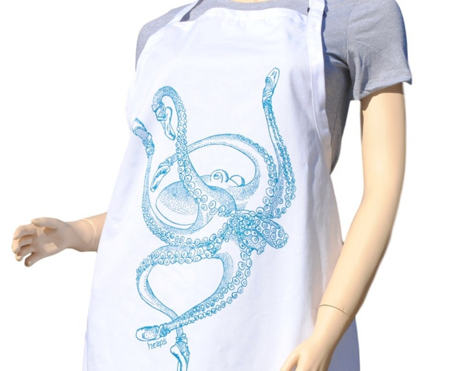 Kitchen Apron - Barbeque Apron - Baking Apron - Nautical Apron - Gifts for Dad - Gifts for Mom - Birthday Gift Idea - Teal Ballet Octopus