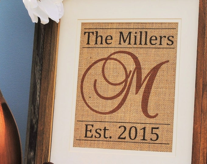 Mr and Mrs Wedding Gift - Chestnut Brown Last Initial - Wedding Gifts Personalized - Burlap Wall Hanging - Burlap Name Sign -Last Name Print