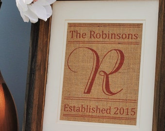 Personalized Engagement Gift - Thank You Gift Idea - Wedding Shower Gift - Burlap Wall Hanging - Burlap Name Banner - Wall Art Handmade Gift