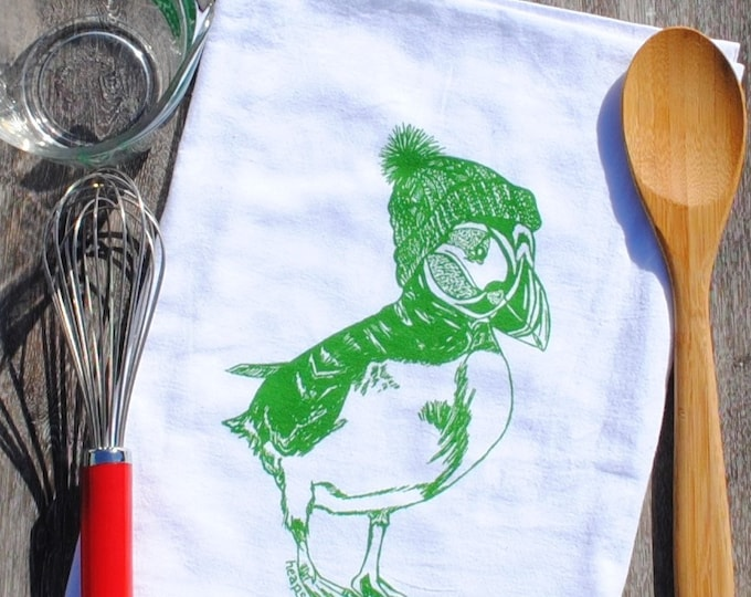 Winter Dish Towel - Screen Printed Flour Sack Dish Towel - Green Puffin Kitchen Towel - Arctic Animals - Christmas Gift - Christmas Linens