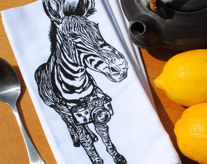 Table Napkins - Cotton Napkins with a Zebra with a Camera - Washable Reusable - Animal Dinner Napkin Set - Funny Napkins