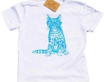 Boys T Shirts - Blue Cat with Glasses Shirt - Animal T Shirt - Kids Clothes - Cat Print Clothes - Blue T Shirt - Boys Birthday Gift