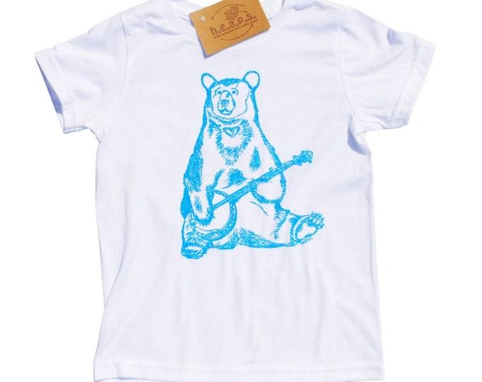 Boys T Shirts - Blue Banjo Bear - Animal T Shirt - Toddler Clothes - Bear Tees - Blue Toddler T Shirt - Boys Birthday Gift