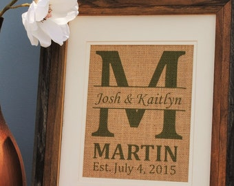 Green Print Personalized Wedding Art - Personalized Gift for Any Occasion - Green Print Burlap Wall Art Decor - Personal Rustic Wall Art