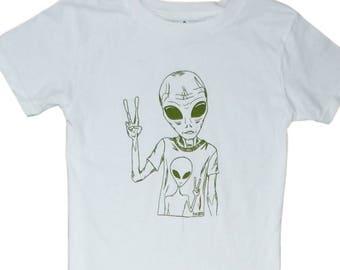 Hippie Alien Unisex Toddler T Shirt - White Boys Girls Tees - Alien Sci Fi Toddler Tee - Toddler T Shirt - Olive Green Shirts - Space Tshirt