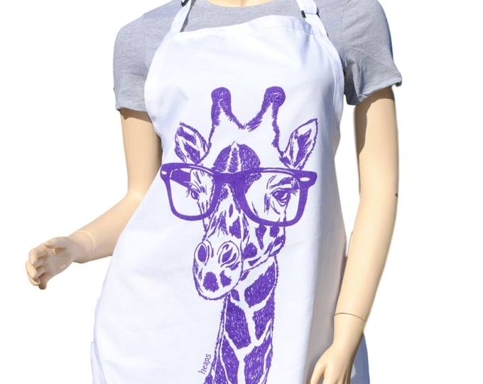Kitchen Apron - Cooks Apron - Poly Cotton Aprons - Full Apron - Kitchen Gifts - Cooking Gift Ideas - Gifts for Mom - Apron for Men - Giraffe