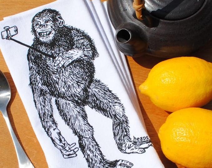Cloth Dinner Napkins - Selfie Chimp - Eco Friendly Table Napkins - Screen Printed Cotton Cloth Napkins - Ape Monkey Chimpanzee