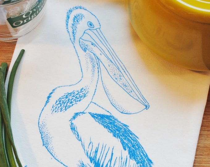 Kitchen Towel - Screen Printed Blue Pelican - 100% Cotton Flour Sack Towel - Ocean Sea Beach Unique Wedding or Birthday Gift - Hand Towel