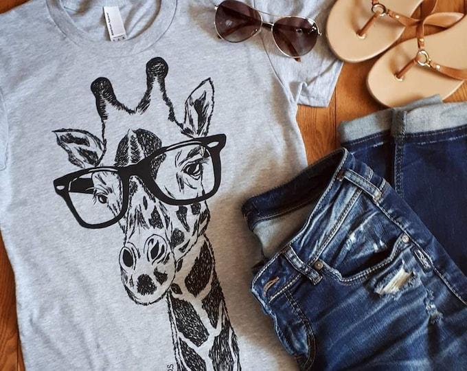 Womens TShirts - Hipster Giraffe Womens Tee - African TShirts - Fashion TShirts - Cool Tee Shirts - Cute Tshirt Gift for Women - Womans Tees