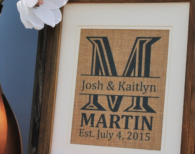 Teal Personalized Family Signs | Personalized Wedding Gifts | Engagement Gifts | Burlap Monogram Print | Burlap Wall Art