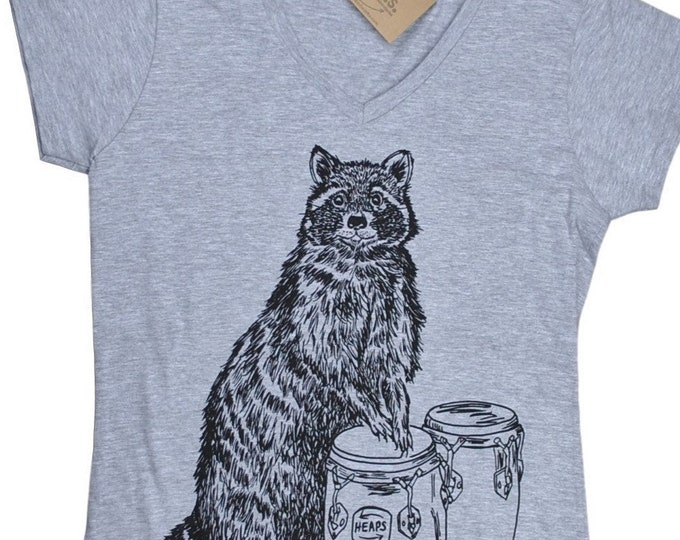 Funny Tshirts Women- V Neck Raccoon T Shirt - Womens Tee - Funny TShirts for Women - Music Tee Shirt - Muscian Tee Shirt - Womens T Shirts