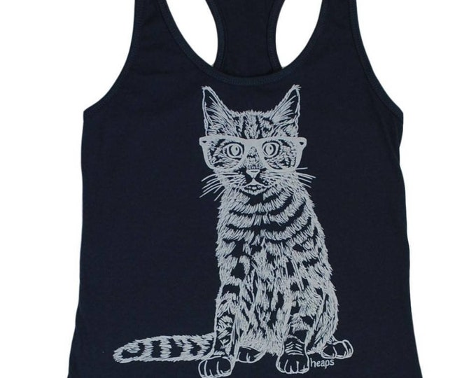 Womens Tank Tops Funny - Hipster Cat Tank Tops - Workout Tank Tops - Womens Funny Tank Tops - Kitten Tops  - Cat Lover Gifts - Blue Tanks
