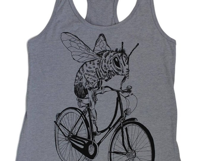 Womens Tank Top -  Bee on a Bike Tank Top -  Womens Funny Graphic Tanks - Loose Fit Tanks - Womens Exercise Tank Tops - Workout Tank Tops