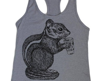 Tank Tops for Women Beach -  Coffee Tank Top -  Chipmunk Tank Top - Womens Graphic Tanks - Coffee Gifts - Womens Exercise Tank Tops