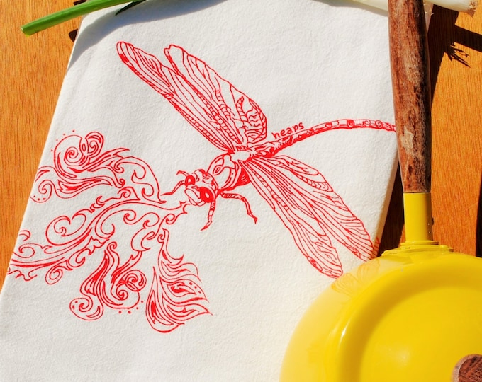 Flour Sack Tea Towel - Dragonfly Breathing Fire - Eco Friendly Cotton Towel - House Warming Gift Wedding Gift Idea - Nature Forest