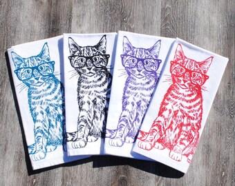 Kitchen Napkins Set of 4 - Cat Napkins - Cloth Dinner Napkins  - Cotton - Cat Decor - Cat Print - Black Ink Print